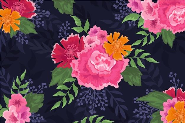 花の現実的な手描きの背景