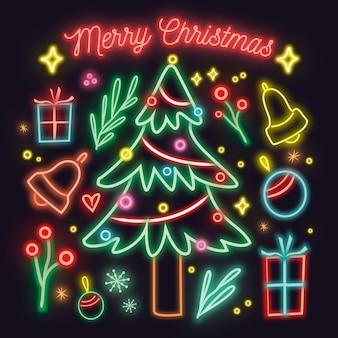カラフルなネオンクリスマスツリー