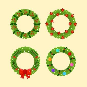 フラットなデザインのクリスマスリースコレクション