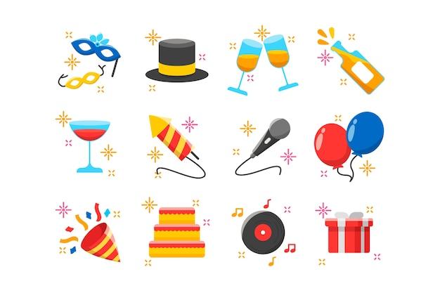 Коллекция новогодней вечеринки в плоском дизайне