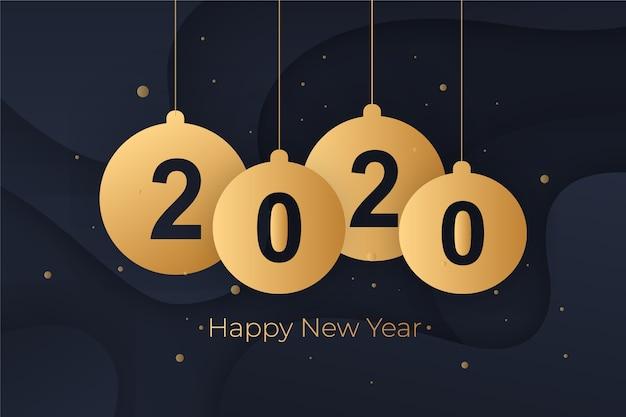 紙のスタイルで新年の背景