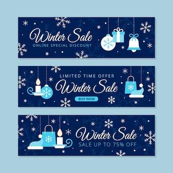 Набор плоских зимних распродажа баннеров