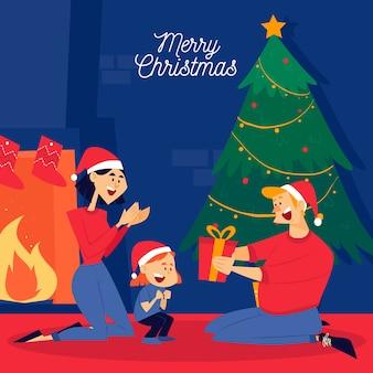 フラットなデザインのクリスマス家族シーン