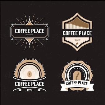 Кофейня ретро логотип набор