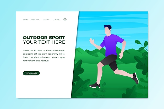 フラットなデザインのランディングページの屋外スポーツテンプレート
