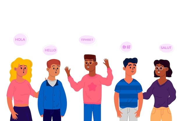 さまざまな言語のコレクションで話しているフラットなデザインの若者