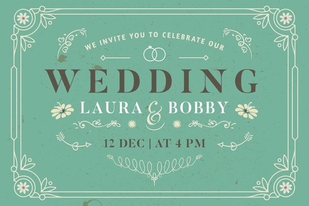 ビンテージテンプレート結婚式招待状