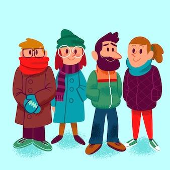 冬の服を着ている人