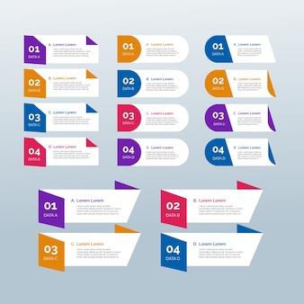 フラットなデザインのインフォグラフィック要素テンプレート
