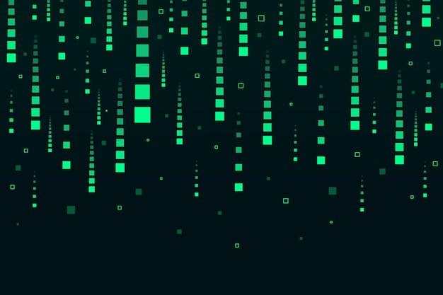 抽象的な緑ピクセル雨背景
