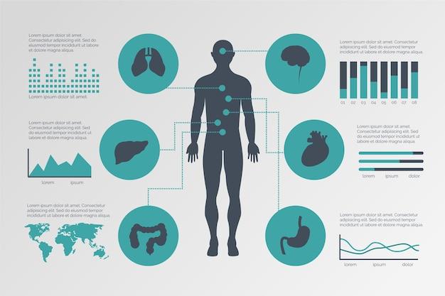フラットなデザインの医療インフォグラフィックテンプレート