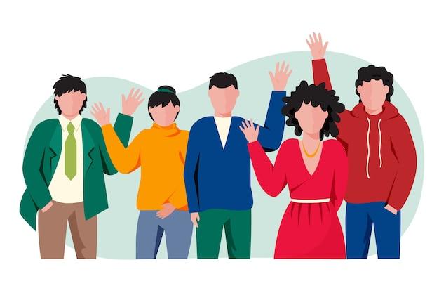 Группа людей машет рукой