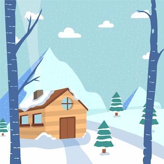 Зимний рисованный пейзаж