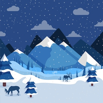 Пейзаж зима рисованной