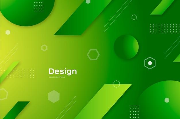 緑の図形と抽象的な背景
