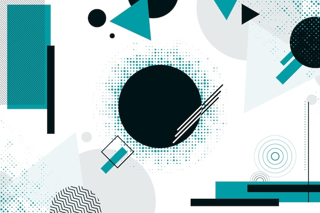 幾何学的な背景に青と黒の図形