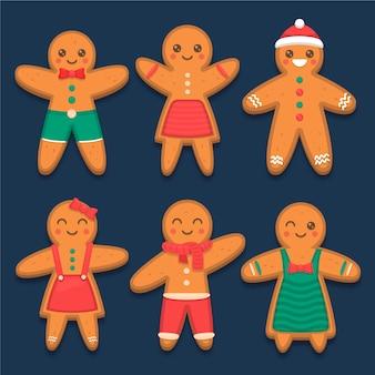 フラットなデザインのジンジャーブレッド人のクッキーコレクション