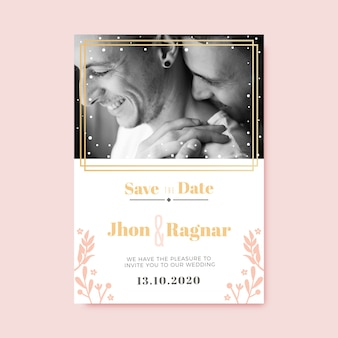 写真の結婚式の招待状のテンプレート