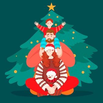 手描きクリスマス家族シーン