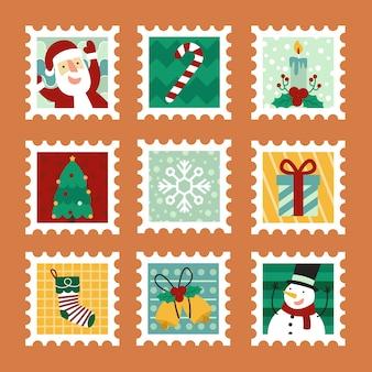 Рождественские почтовые марки плоский дизайн
