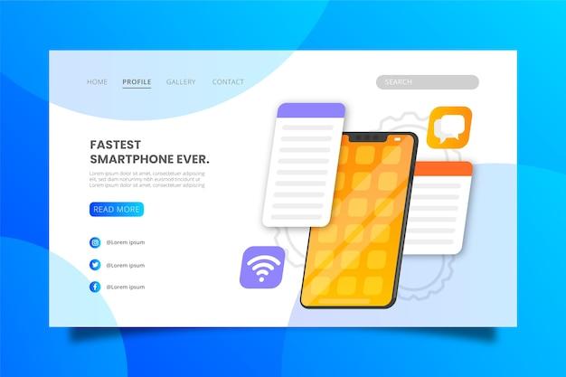 スマートフォンのランディングページテンプレートのさまざまなアプリ