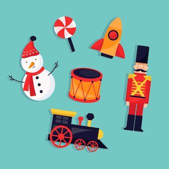 Новогодние детские игрушки плоский дизайн