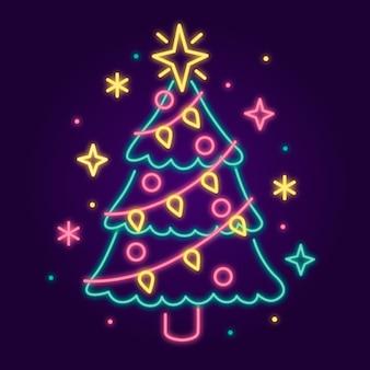 Неоновая новогодняя елка с разноцветными звездами