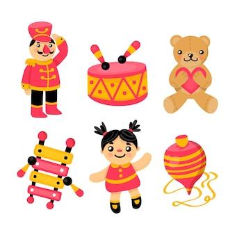 子供のフラットなデザインのおもちゃコレクション
