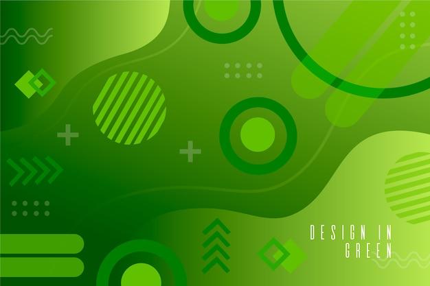 幾何学的な背景に緑の液体効果