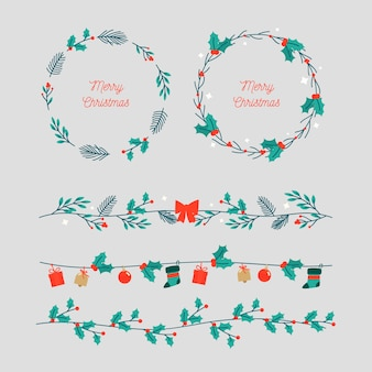クリスマスのためのかわいい葉の花輪とフレーム