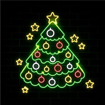 Неоновая новогодняя елка на кирпичной стене
