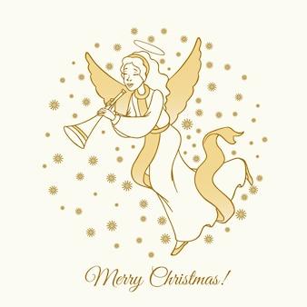 Золотой веселый рождественский ангел и лента