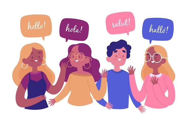 異なる言語のコレクションで話している手描きの若者