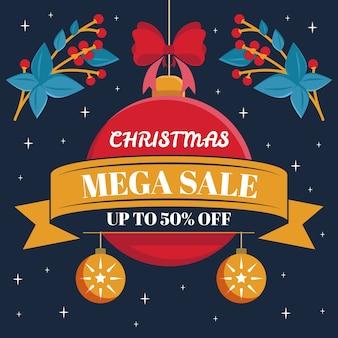Плоская рождественская распродажа с елочным шаром и омелой