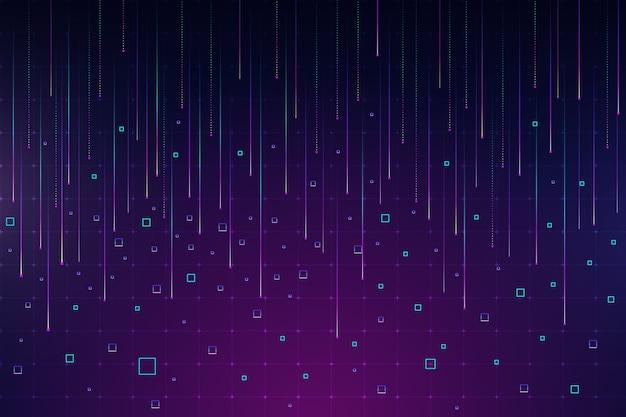 抽象的なバイオレットピクセル雨背景