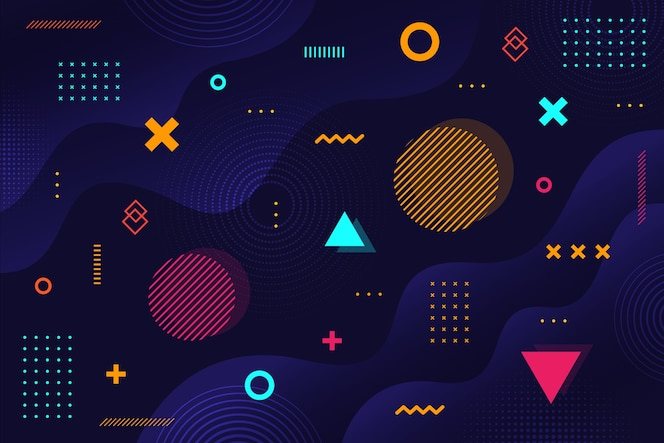 Темный мемфис геометрические фигуры фон