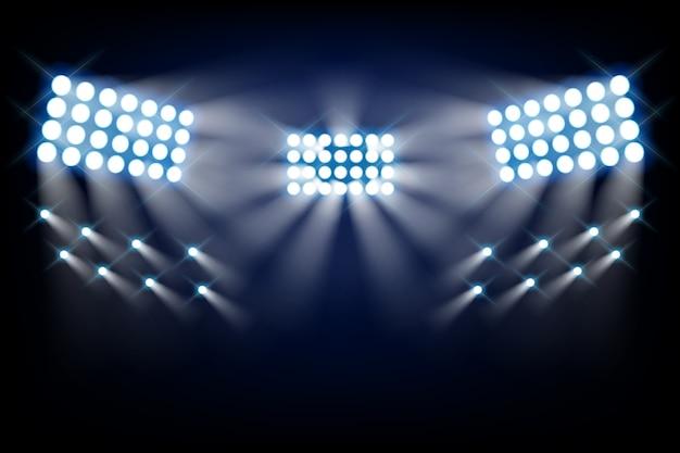スタジアムの明るいライトの正面図