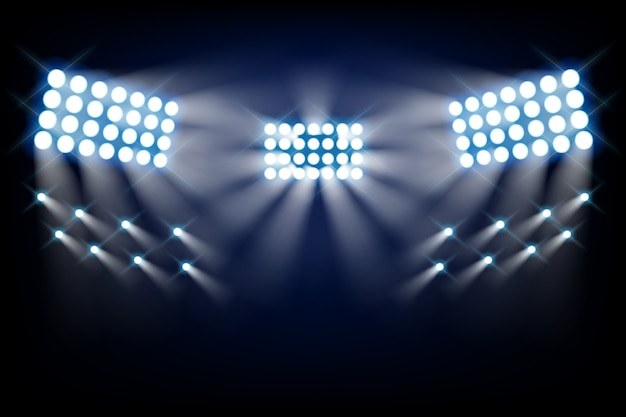 Стадион яркие огни вид спереди