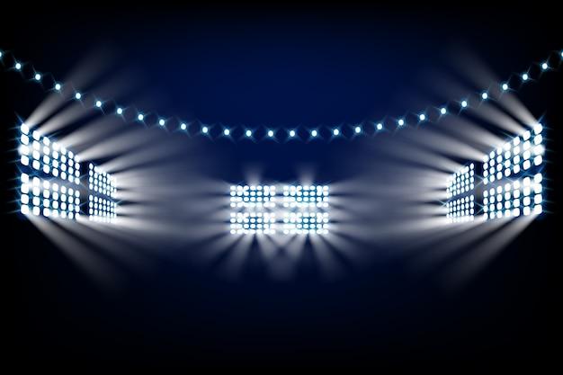 現実的な明るいスタジアムライト