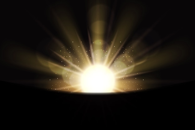 輝く白い日の出の光の効果