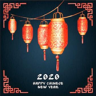 Акварель китайский новый год
