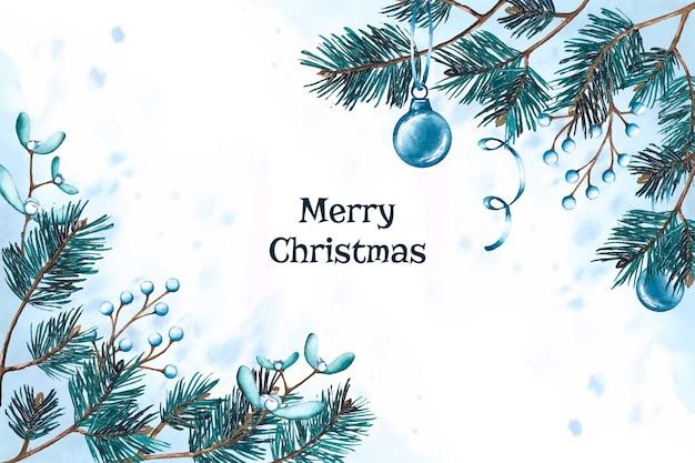 クリスマスツリーの枝とボールの水彩デザイン