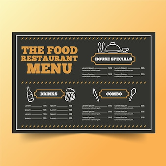 Шаблон меню ресторана с рисунками