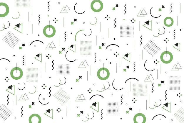 Мемфис геометрические фигуры плоский дизайн фона