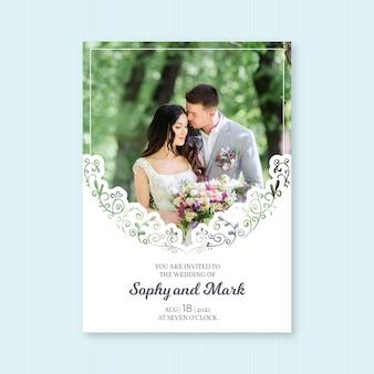 写真の美しい結婚式の招待状のテンプレート