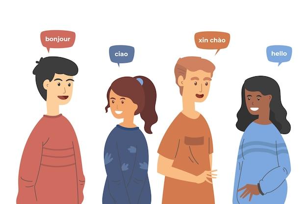 異なる言語で話しているフラットなデザインの若者セット