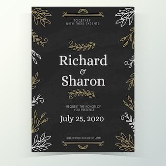 Винтажный шаблон свадебного приглашения