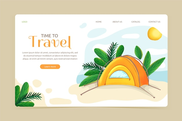 フラットなデザインの旅行テンプレートのランディングページ