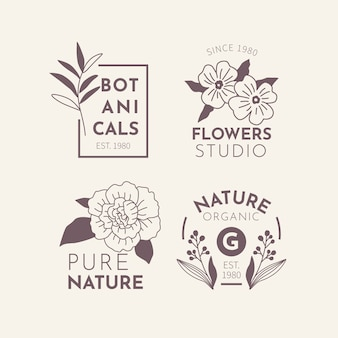 最小限のスタイルのロゴセットで自然なビジネス