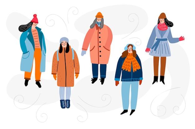 冬の服を着ている市民